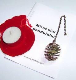 Pendul din cupru - spirala - cu jadeit