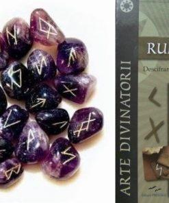 Set de rune din ametist si cartea Runele cadou
