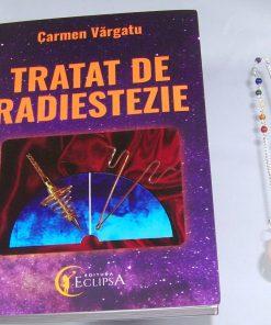 Pendul din cuart roz cu cristalele celor 7 chakre