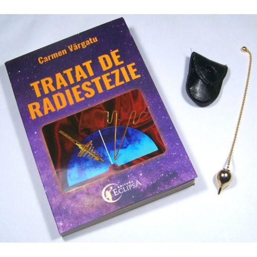 Pendul din metal auriu cu cartea Tratat de radiestezie