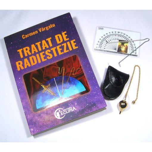 Kit radiestezic: pendul auriu din metal, ansa din inox si cartea Tratat de radiestezie
