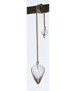 Pendul din cristal de stâncă pe lanț argintiu
