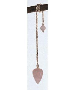Pendul din cuarț roz pe lanț argintiu